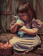 Farm Scene Framed Prints - Girl with a Bunny Framed Print by Jean Hildebrant