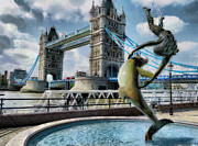 Dolphin Digital Art Framed Prints - Girl with a Dolphin - Tower Bridge Framed Print by Steve Taylor