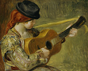 Red Hair Painting Posters - Girl with a Guitar Poster by Pierre Auguste Renoir