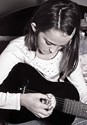 Preteen Posters - Girl With a Guitar  Poster by Susan Leggett