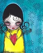Surreal Girl Framed Prints - Girl with a Heart Framed Print by  Abril Andrade Griffith