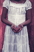White Dress Prints - Girl With A Heart Print by Joana Kruse