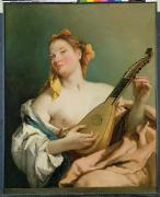 Lute Metal Prints - Girl with a Mandolin Metal Print by Giovanni Battista Tiepolo