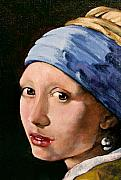 Earring Painting Framed Prints - Girl with a Pearl Earring a Reproduction of Vermeer Framed Print by Joan Garcia