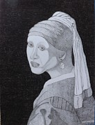 Dutch Drawings Framed Prints - Girl with a pearl earring Framed Print by Gerald Strine