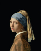 Oil On Canvas Painting Metal Prints - Girl with a Pearl Earring Metal Print by Jan Vermeer
