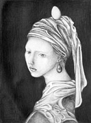 Girl With A Pearl Earring Prints - Girl With A Pearl Egg Print by Sheridan Furrer