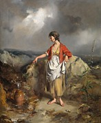 Stormy Weather Paintings - Girl with a Pitcher by PF Poole