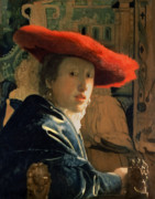 Feathers Framed Prints - Girl with a Red Hat Framed Print by Jan Vermeer