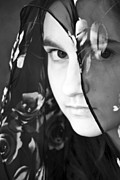 Sullen Framed Prints - Girl With A Rose Veil 3 BW Framed Print by Angelina Vick