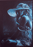 Decoration Pastels Posters - Girl with a white hat Poster by Christo Wolmarans