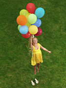 Laughing Posters - Girl with Air Balloons Poster by Oleksiy Maksymenko