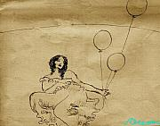 Sepia Ink Drawings - Girl With Balloons in Storm by Ocean