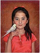 Beijing Paintings - Girl with Bird by Jane Bucci