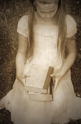 Books Framed Prints - Girl With Books Framed Print by Joana Kruse