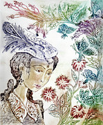 Picture Hat Drawings Framed Prints - Girl with butterflies Framed Print by Milen Litchkov