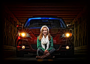 Mazda Prints - Girl with Car Print by Brian Mollenkopf