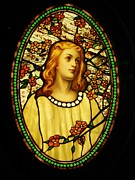Stained Glass Art Metal Prints - Girl with Cherry Blossoms Metal Print by Pg Reproductions