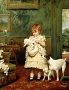 Oil On Canvas Framed Prints - Girl with Dogs Framed Print by Charles Burton Barber