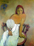 Chair Posters - Girl with fan Poster by Paul Gauguin