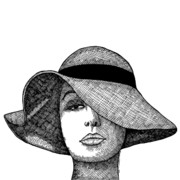 Draw Drawings Posters - Girl With Fancy Hat Poster by Karl Addison