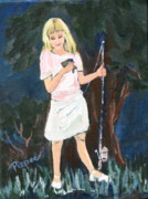 Catch And Release Posters - Girl with First Fish Poster by Betty Pieper