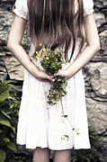Flower Bouquet Posters - Girl With Flowers Poster by Joana Kruse