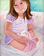 Anne Cameron Cutri Metal Prints - Girl with Guinea Pig Metal Print by Anne Cameron Cutri