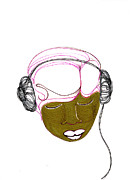 Hip Drawings - Girl With Headphones by Yanula Chevalier