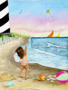 Sealife And Beaches - Girl with Kite by Pauline Ross