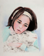 Sheep Pastels Framed Prints - Girl with Lamb Framed Print by Paul Cubeta