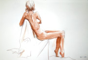 Chair Drawings Framed Prints - Girl With Long Legs Arm Draped Over Chair Framed Print by June Schneider