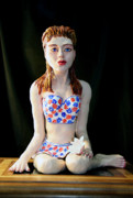 Painted Sculpture Sculptures - Girl with lotus 2 by Yelena Rubin