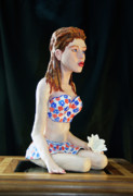 Painted Sculpture Sculptures - Girl with lotus 3 by Yelena Rubin