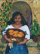 Mango Framed Prints - Girl with Mangoes Framed Print by Barbara Nye
