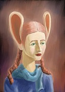 Mouse Digital Art Originals - Girl With Mouse Ears by Jenia Velganenko