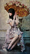 Sitting  Digital Art Posters - Girl with Parasol Poster by Elena Nosyreva
