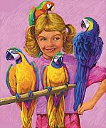 Nature Pastels Posters - Girl With Parrots Poster by Valerian Ruppert
