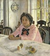 Morning Breakfast Posters - Girl with Peaches Poster by Valentin Aleksandrovich Serov