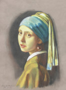 Old Pastels - Girl with pearl earring by Vermeer by Kean Butterfield