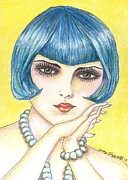 Jewelry Drawings Prints - Girl With Pearls Print by Tracy Fitzgerald