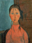 1918 Posters - Girl with Pigtails Poster by Amedeo Modigliani