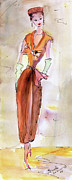Figures Paintings - Girl With Pillbox Hat Vintage Fashion  by Ginette Fine Art LLC Ginette Callaway