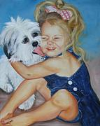 Dog Paintings - Girl with Puppy by Joni McPherson