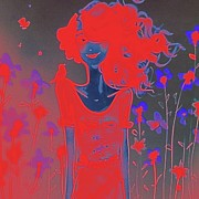 Cool Digital Art Originals - Girl With Red Hair by Florene Welebny