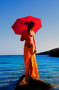 Nude Models Prints - Girl with red umbrella Print by Manolis Tsantakis
