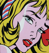 Pop Art Painting Originals - Girl With Ribbon by Luis Ludzska