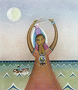 Figures Pastels Prints - Girl with Sea Print by Sally Appleby