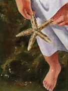 Oil Paints Posters - Girl with Starfish Poster by Sheryl Heatherly Hawkins