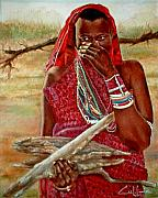 Maasai Painting Originals - Girl With Sticks by G Cuffia